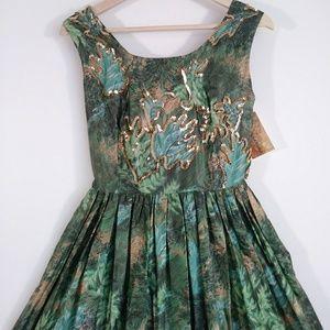 Vintage 50s cotton gold sequin dress pleats skirt